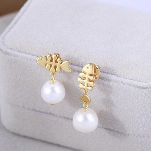 Tory Burch Fish Bone Pearl Asymmetric Earrings